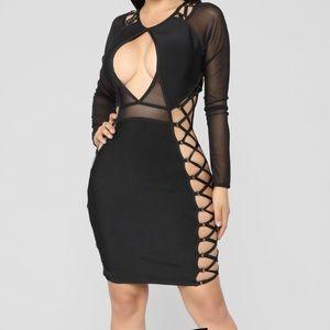 Black bandage cut out dress